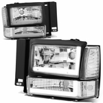 91-94 Ford Explorer LED DRL Headlight Bumper Corner Lamp Replacement - Chrome Clear