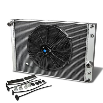 "91-96 Chevy Corvette L98 V8 MT Aluminum Racing 3-Row Radiator+16"" Fan (Black)+Mounting Kit"