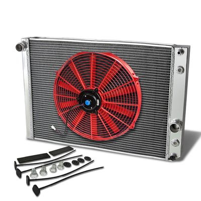 "91-96 Chevy Corvette L98 V8 MT Aluminum Racing 3-Row Radiator+16"" Fan (Red)+Mounting Kit"