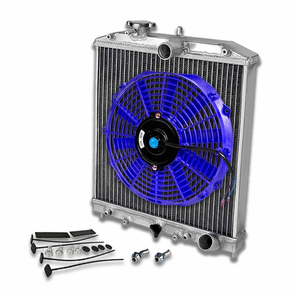 "92-00 Honda Civic/Del Sol/Integra 2-Row Dual Core 42mm Racing Radiator+12"" Blue Fan+Mounting Kit"