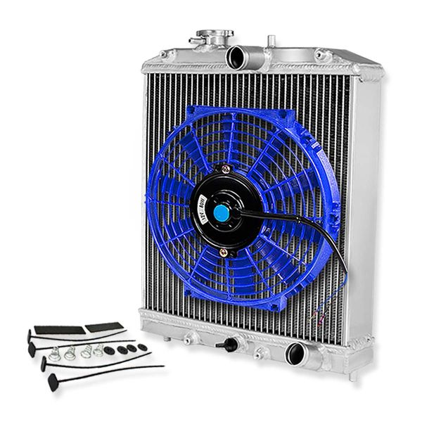 "92-00 Honda Civic/Del Sol/Integra (Manual Transmission) 3-Row Tri Core 60mm Racing Radiator+10"" Blue Fan"