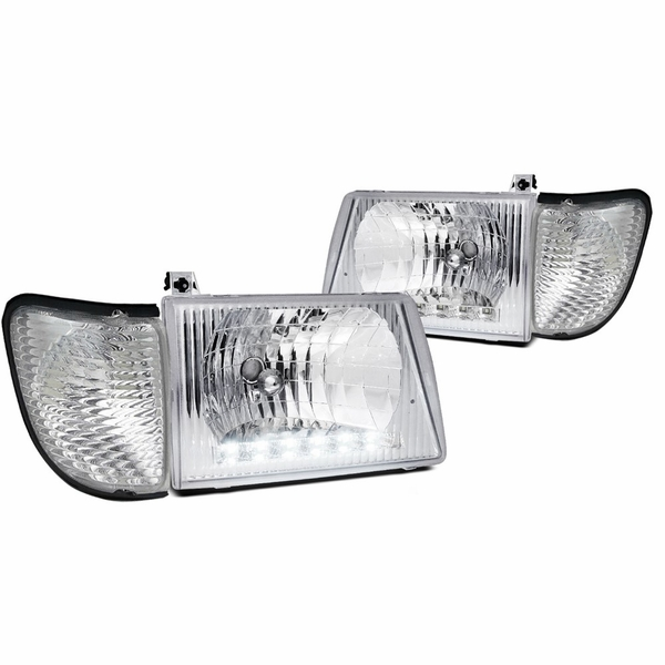 92-06 Ford Econoline Clear Head Lights+Corner Lamps Pair