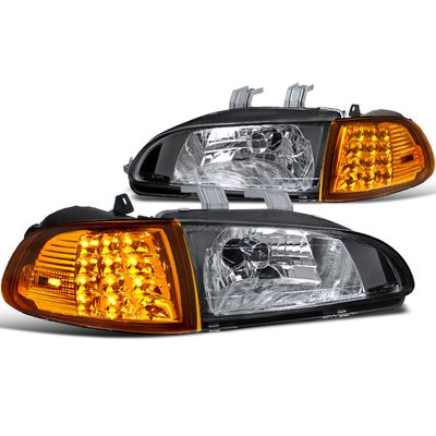 92-95 Honda Civic 2Dr/3Dr EG EH EJ Crystal Headlights + LED Corner Lights - Black