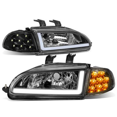 92-95 Honda Civic LED DRL Bar + Turn Signal Headlight Corner Lamps Black