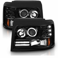92-96 Ford Bronco / F150 / F250 Angel Eye Halo Projector Headlights - Black