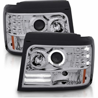92-96 Ford Bronco / F150 / F250 Angel Eye Halo Projector Headlights - Chrome