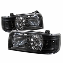 92-96 Ford Bronco / F150 F250 F350 1-Piece LED Crystal Headlights - Black