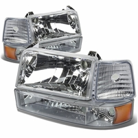 92-96 Ford Bronco / F150 / F250 / F350 Crystal Headlights + Bumper Corner - Chrome