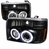 92-96 Ford F150 Dual Halo Angel Eye Projector Headlights - Black