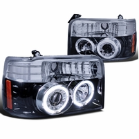92-96 Ford F150 Dual Halo Angel Eye Projector Headlights - Gloss Black / Smoked