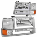 92-96 Ford F150 F250 F350 6Pcs Headlight+Bumper Lamp w/LED DRL - Chrome|Amber