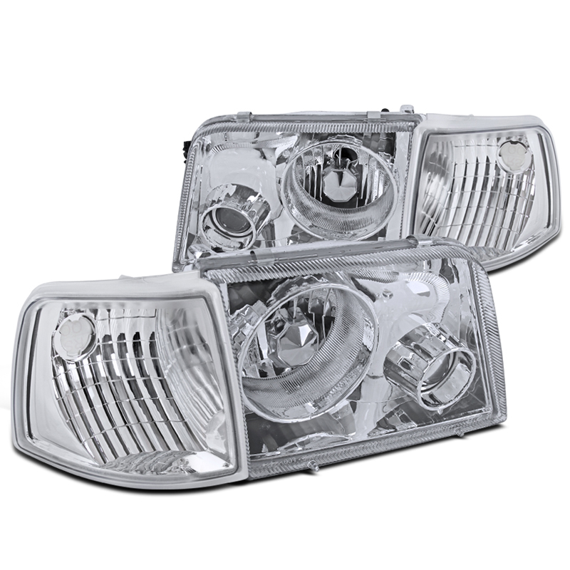 93 97 Ford Ranger Chrome Headlights Projector Fog Clear Corner Signal Lamps Click To Enlarge