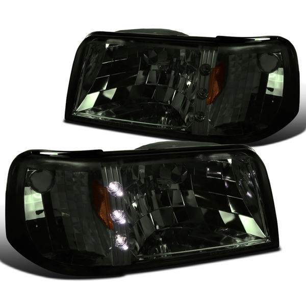 93-97 Ford Ranger Pickup 1-Piece Headlights w/ Corner LED Accent - Smoked Lens