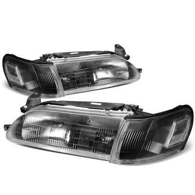 93-97 Toyota Corolla OE-Style Replacement Headlights  - Black / Clear