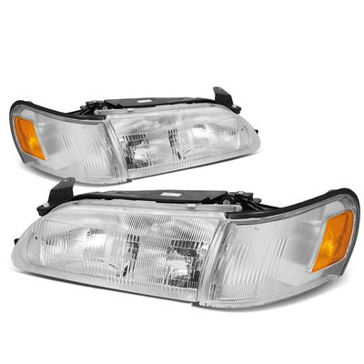 93-97 Toyota Corolla OE-Style Replacement Headlights  - Chrome / Amber