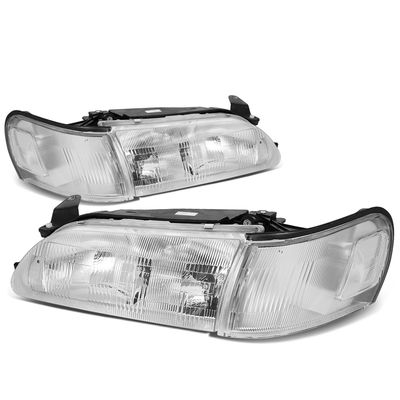 93-97 Toyota Corolla OE-Style Replacement Headlights  - Chrome / Clear