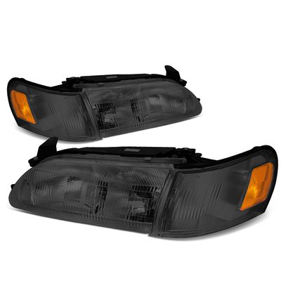 93-97 Toyota Corolla OE-Style Replacement Headlights  - Smoked / Amber