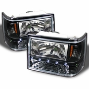 93-98 Jeep Grand Cherokee 1-Piece Crystal Headlights - Black