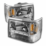 93-98 Jeep Grand Cherokee 1-Piece Crystal Headlights - Chrome