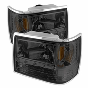 93-98 Jeep Grand Cherokee 1-Piece Crystal Headlights - Smoked
