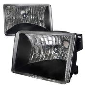 93-98 Jeep Grand Cherokee Black/Clear Diamond Headlights Left+Right Set