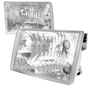 93-98 Jeep Grand Cherokee Chrome/Clear Diamond Headlights Left+Right Set