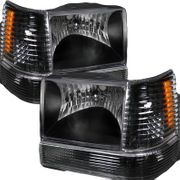 93-96 Jeep Grand Cherokee Euro Crystal Headlights / Bumper Lens - Black