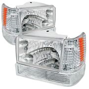 93-96 Jeep Grand Cherokee Euro Crystal Headlights / Bumper Lens - Chrome