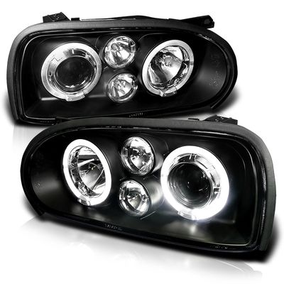 93-98 Volkswagen Golf Dual Halo LED Projector Headlights - Black