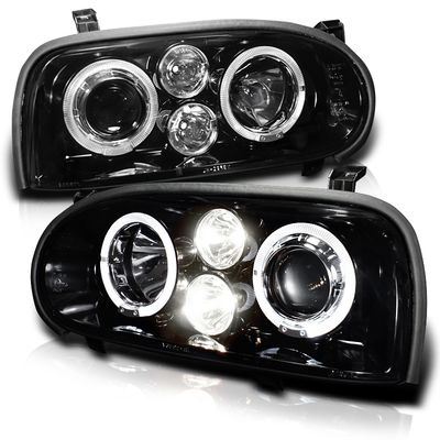 93-98 Volkswagen Golf Dual Halo LED Projector Headlights - Smoked