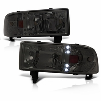 94-01 Dodge Ram 1-PC Euro Style LED Crystal Headlights - Smoked