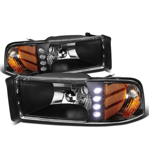 94-01 Dodge Ram 1500 1PC Euro Crystal Headlights - Black