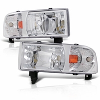94-01 Dodge Ram 1500 2500 3500 Chrome 1PC Crystal Headlights