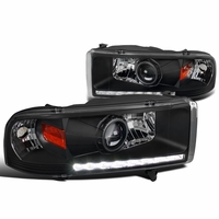 94-01 Dodge RAM 1500 2500 3500 DRL LED Projector Headlights - Black