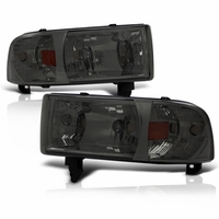 94-01 Dodge Ram 1500 2500 3500 Smoked 1PC Crystal Headlights