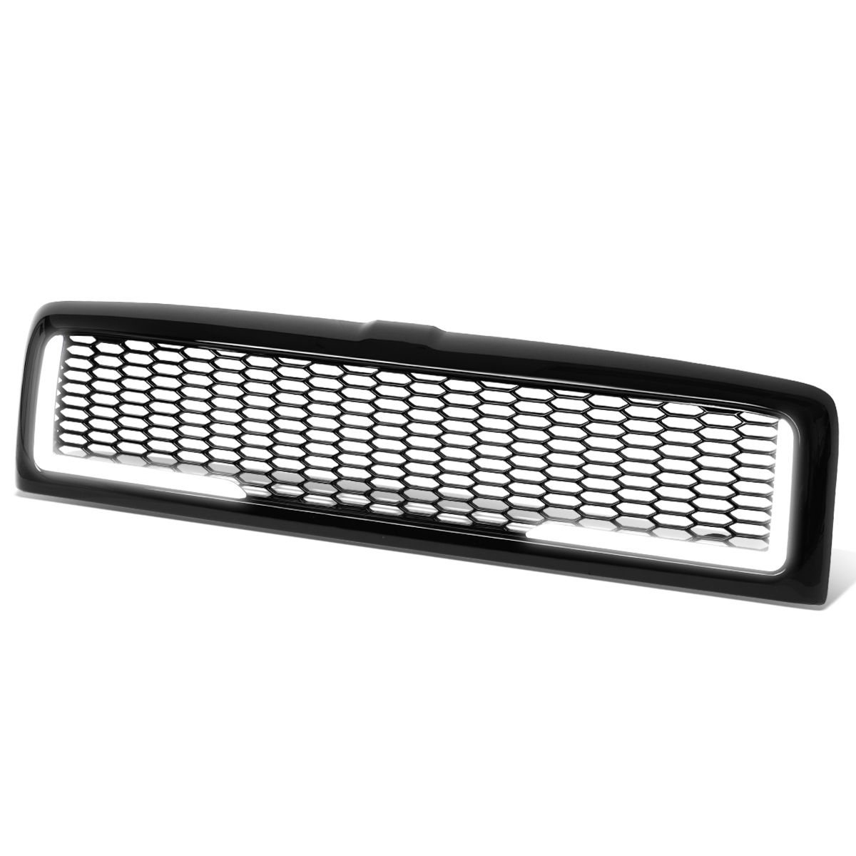 DNA Motoring GRF-LB-005-BK-1 LED DRL Glossy Mesh Front Bumper Grille Grill Replacement