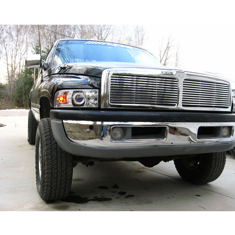 94 01 Dodge Ram Pickup 1500 2500 3500 Angel Eye Halo Led Projector Headlights Smoked