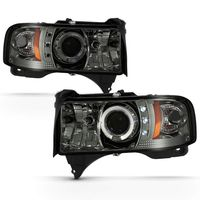 94-01 Dodge Ram Pickup 1500 2500 3500 Angel Eye Halo & LED Projector Headlights - Smoked