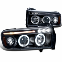 94-01 Dodge Ram Pickup 1PC Angel Eye Halo / LED Projector Headlights - Black 2LHP-RAM94JM-TM
