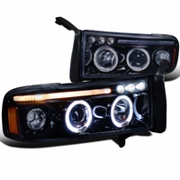 94-01 Dodge Ram Pickup 1PC Angel Eye Halo Projector Headlights - Gloss Black 2LHP-RAM94G-TM