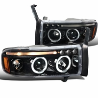 94-01 Dodge Ram Pickup 1PC Angel Eye Halo Projector Headlights - Gloss Black / Clear