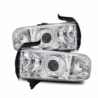 94-01 Dodge Ram Pickup [Optional] CCFL Halo & LED Euro Projector Headlights - Chrome