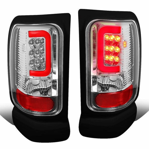 94-01 Dodge RAM Pickup LED C-Shaped Bar Tail Lights - Chrome