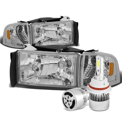 94-01 Dodge Ram Replacement Headlight+Corner (Chrome Housing Amber Reflector)+6000K White LED w/ Fan