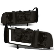 94-01 Dodge RAM Truck 1500 2500 3500 Smoked Housing Clear Corner LED DRL Headlights / Lamps