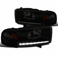 94-02 Dodge Ram 1500 2500 3500 LED DRL Strip Projector Headlights - Black Smoke