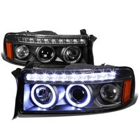 94-02 Dodge RAM Dual Halo + LED DRL Projector Headlights - Black Amber