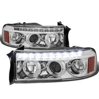 94-02 Dodge RAM Dual Halo + LED DRL Projector Headlights - Chrome Amber