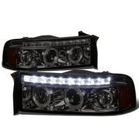 94-02 Dodge RAM Dual Halo + LED DRL Projector Headlights - Smoked Amber