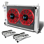 """94-95 Ford Mustang 4th Gen AT Aluminum Racing 3-Row Radiator+12"""" Fans (Red)+Mounting Kit"""